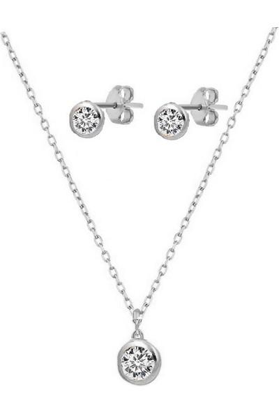 Trend Silver 925 Ayar Gümüş Rodyumlu Minimal Tek Taş Küpe Kolye Seti