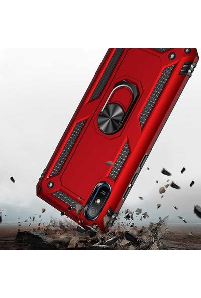 Moraksesuar Xiaomi Redmi 9A Kılıf Yüzüklü Standlı Tank Zırh Silikon Kırmızı