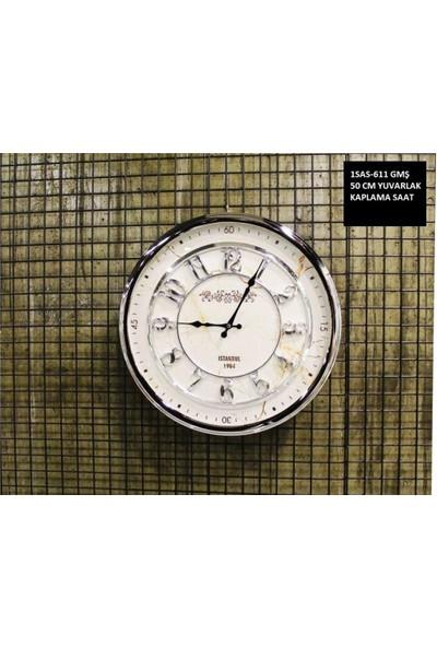 4mhome Beyaz Kadranlı Dekoratif Duvar Saati 50 cm Gümüş Mermer