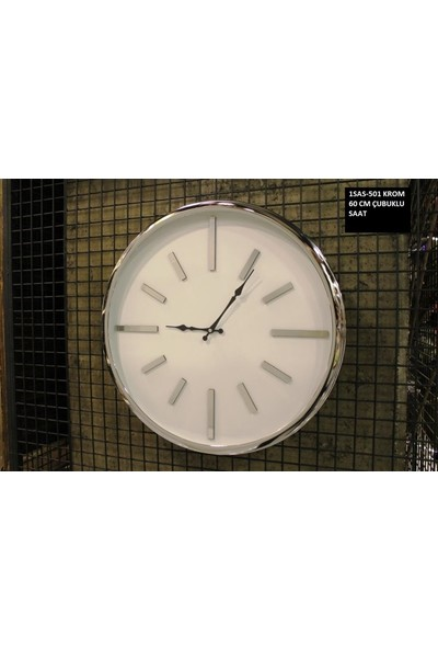4mhome Beyaz Kadranlı Krom Çubuklu Dekoratif Duvar Saati 60 cm Krom