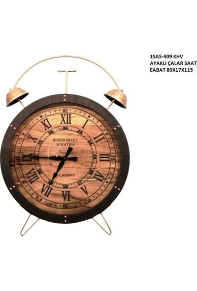 4mhome Ahşap Kadranlı Ayaklı Dekoratif Yer Saati 80 x 120 cm Kahve Siyah
