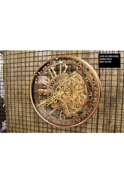 4mhome Dekoratif Çarklı Duvar Saati 53 cm Bakır