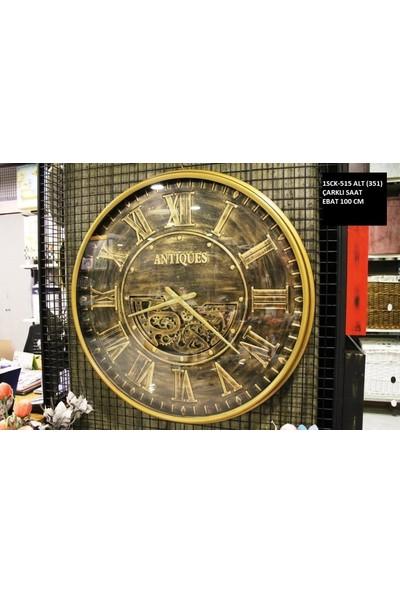 4mhome Dekoratif Çarklı Duvar Saati 100 cm Altın