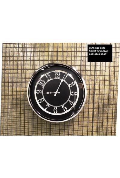 4mhome Siyah Kadranlı Dekoratif Duvar Saati 50 cm Gümüş