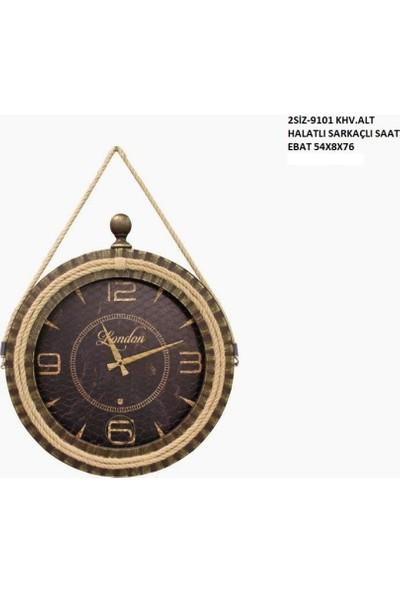 4mhome Halatlı Sarkaçlı Dekoratif Duvar Saati 80 cm Kahve