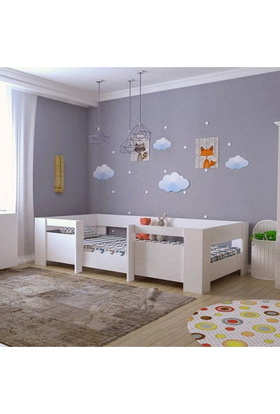 Siz Düşleyin Bebek Odası Yatağı Montessori Mdf Karyola Beyaz M5-Beyaz- 90X190 Yatak Uyumlu - M2005