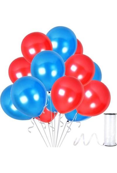 Kullanatparty Rafya Hediyeli 50 Adet Metalik Parti Balonu Kırmızı - Koyu Mavi