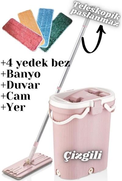 Vip Ahmet Yeni Premium Çizgili Tablet Mop Seti + 4'lü Yedek Bezi Temizlik Seti