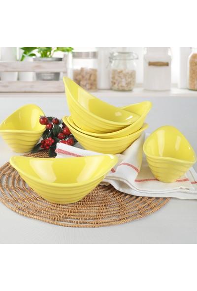 Keramika Gondol Sarı Çerezlik 16 Cm 6 Adet - 100
