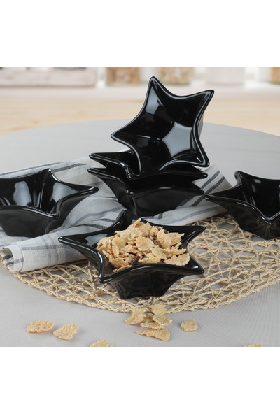 Keramika Siyah Yıldız Çerezlik / Sosluk 16 Cm 6 Adet