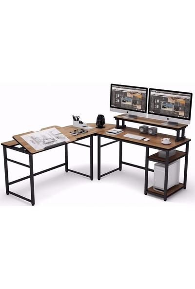 Zizuva Ceviz L Şekilli Çizim ve Çalışma Masası