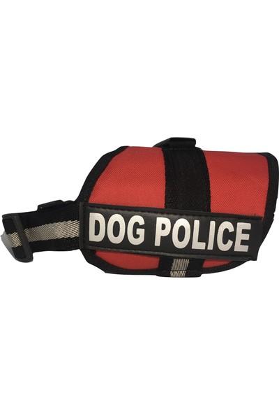 Julius K9 Dog Police & Security Yazılı Köpek Göğüs Tasması (Küçük Irk)- Kırmızı
