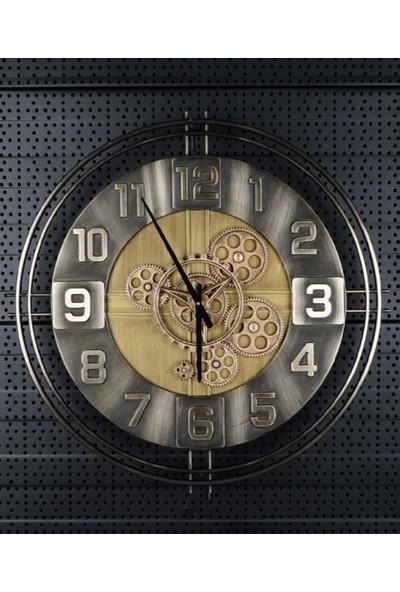 Acar Sessiz Mekanizmalı Çarklı Metal Saat CHM-011498/1