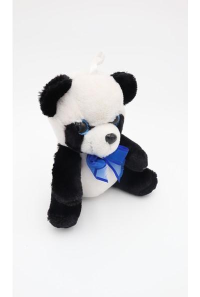 Mrc Mavi Papyonlu Sevimli Panda Pelüş Oyuncak 20 cm