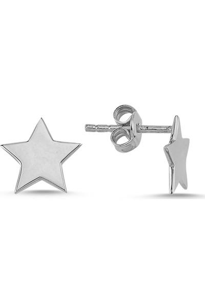 Bigakan Yıldız Gümüş Küpe 925 Ayar Gümüş Kadın Çocuk Küpesi