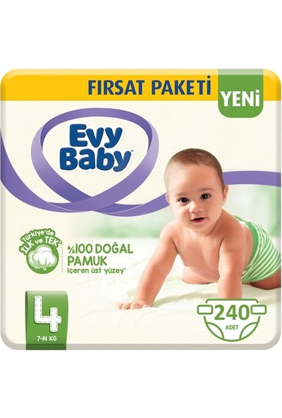 Evy Baby 4 Numara Bebek Bezi 7-14 kg Maxi Fırsat Paketi 240'LI