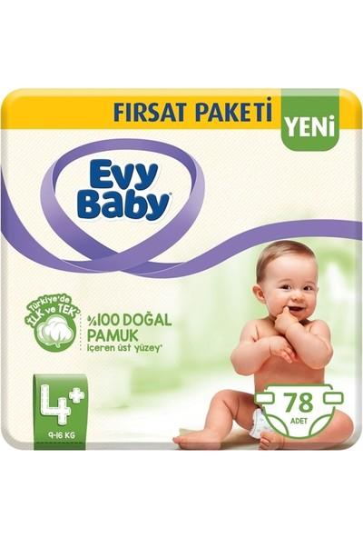 Evy Baby 4+ Numara Bebek Bezi 9-16 kg Maxi Plus Ekonomik Paket 78'li