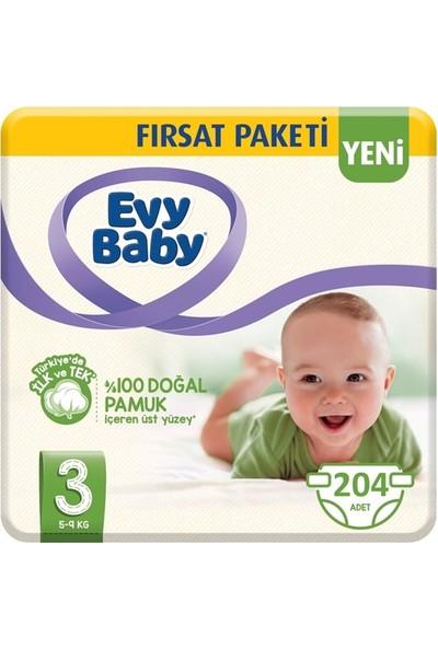 Evy Baby 3 Numara Bebek Bezi 5-9 kg Fırsat Paketi 204'LÜ