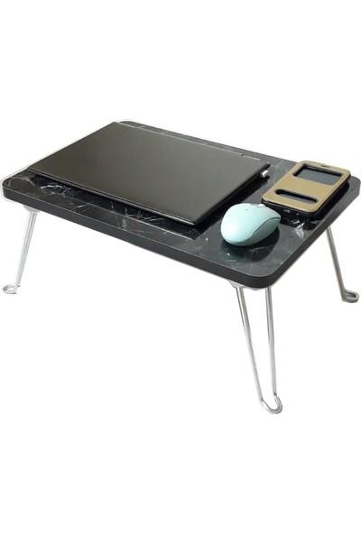 Mavi Vitrin Laptop Sehpası Koltuk Yatak Üstü Kahvaltı Sehpası Katlanabilir Ayak