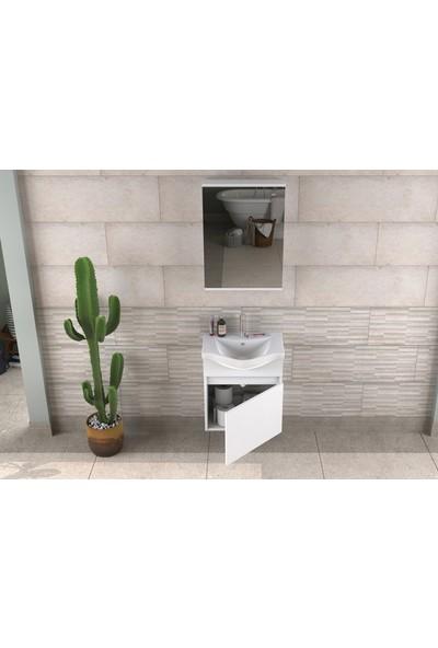 Biani Edremit 55cm Beyaz Banyo Dolabı
