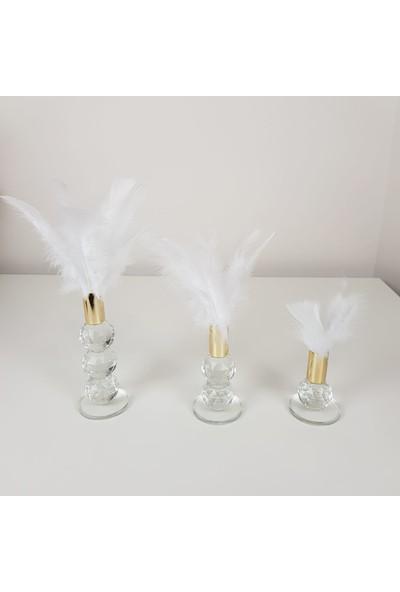 Kırat Home Desing Şık 3lü Dekoratif Gold Detaylı Beyaz Tüy K2021104200205