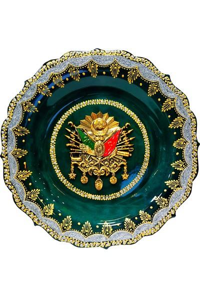 Otogar Çini 30 cm Kütahya Çinisi Devlet Armalı Tabak Altın-Gümüş Renk Yaldızlı