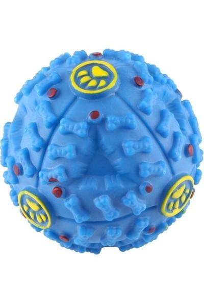 Bobo Köpekler Için Plastik Sert Top Gumi Sesli 10 cm Mavi