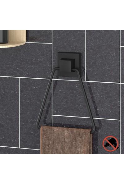 Teknotel Delme Vida Matkap Yok! Easyfıx Yapıskanlı Üçgen Havluluk Mat Siyah EF233
