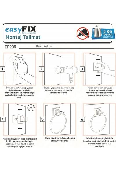 Teknotel Delme Vida Matkap Yok! Easyfıx Yapıskanlı Yuvarlak Havluluk Bakır EF235