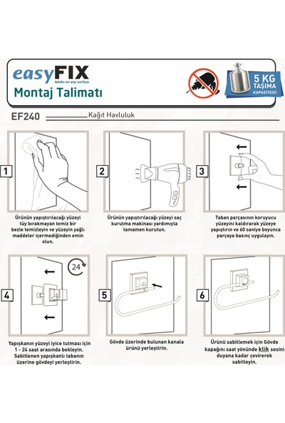 Teknotel Delme Vida Matkap Yok! Easyfıx Yapıskanlı Kağıt Havluluk Beyaz EF240