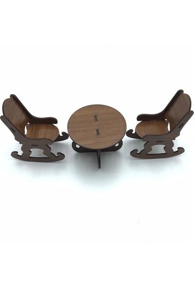 Sıradışı Hediyelik Ahşap Minyatür Masa Sandalye Takımı