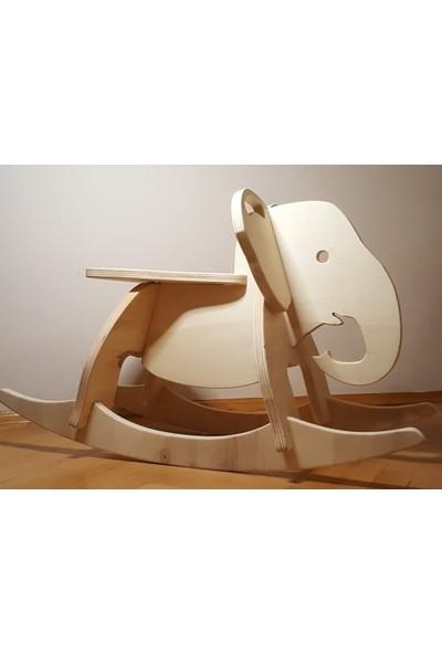 İdeal Tasarım Doğal Ahşap Demonte Sallanan Fil Oyuncak Malzeme