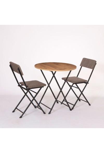 Coşar Group Yuvarlak Katlanır Atlantik Çam Salon Mutfak Masa Sandalye Takımı
