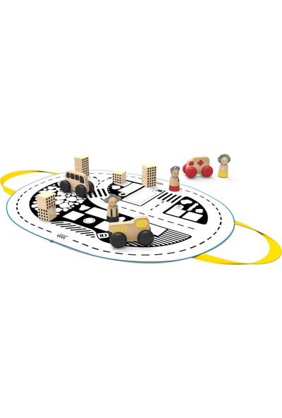 Mamatoyz 16KASABAM Oyun Matı Çanta Oyuncak Ahşap Araba