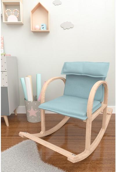 Mobildeco Şirin Ahşap Sallanan Sandalye Dinlenme Koltuğu Mavi (Doğal)