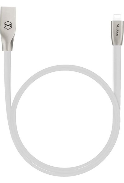 Mcdodo Lightning Çinko Alaşim Yassi Dörtgen Kablo 1.5m 2.4A Beyaz CA-1203
