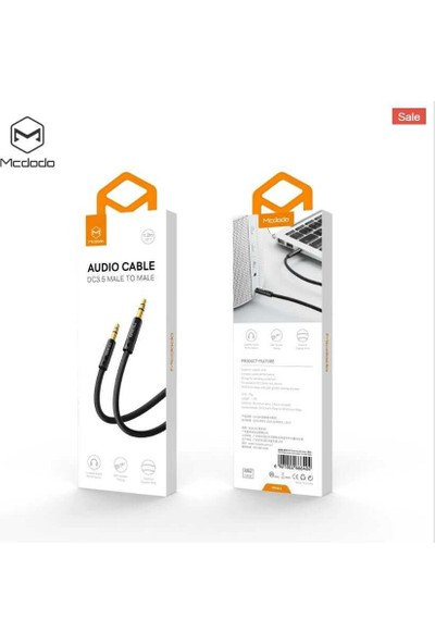 Mcdodo CA-664 3.5mm Örgü Aux Ses Kablosu 1.2m Siyah Jak