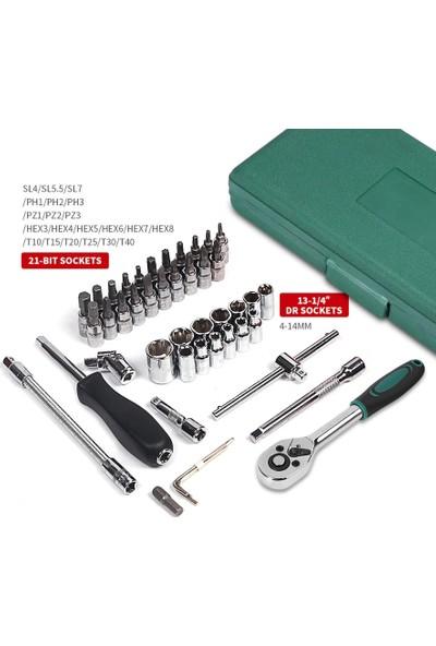 "Depolife 46 Parça Mini Lokma Takımı Otomatik Cırcırlı 1/4"" Wrench Set Yüksek Kalite Kombinasyon Alet Seti"