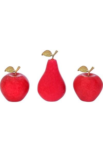 Arı Onyx Doğal Taş Elma Armut Takımı 3' Lü Biblo 1037