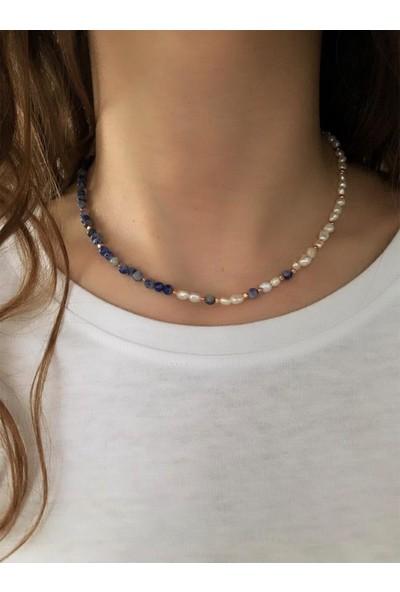 Serpil Jewellery Doğaltaşlı Sodalit ve Inci Tasarım Kolye