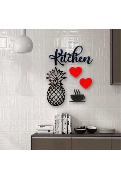 """Lazeratölye Dekoratif Kitchen Mutfak Süsü """"siyah - Kırmızı"""""""
