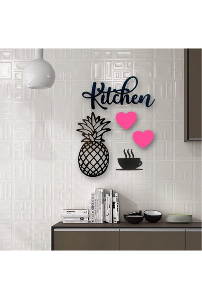 "Lazeratölye Dekoratif Kitchen Mutfak Süsü ""siyah - Pembe"""