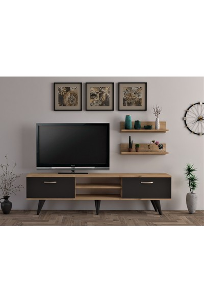Ba Home Duvar Raflı Ceviz Ayaklı Tv Ünitesi