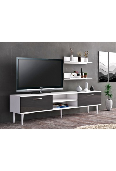 Ba Home Beyaz Antrasit Duvar Raflı Tv Sehpası