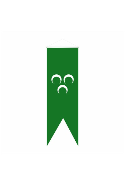 Bayrakal Kayı Boyu ve Osmanlı Yeşil 3 Hilal Kırlangıç Saten Bayrak 50 x 150 cm