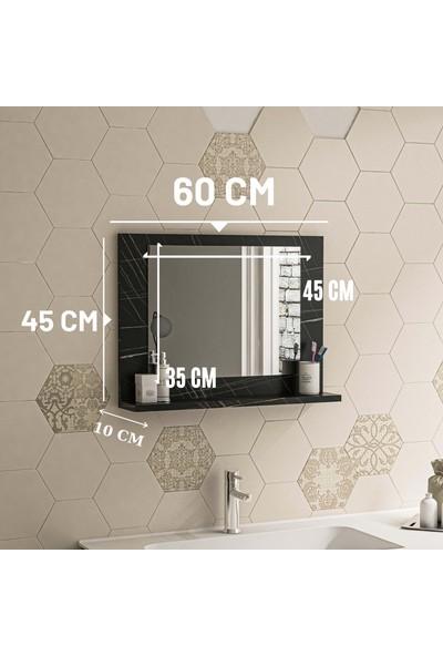 Bluecape Siyah Mermer 60X45 Raflı Antre Hol Koridor Duvar Salon Mutfak Banyo Wc Ofis Çocuk Yatak Odası Aynası