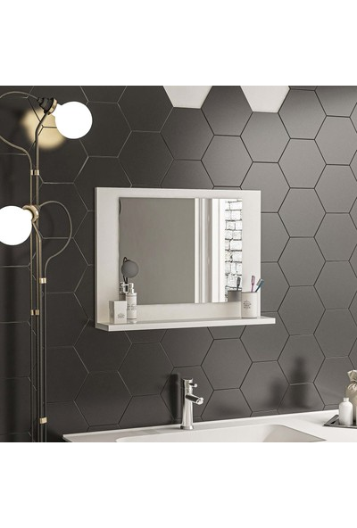 Bluecape Beyaz 60X45 Raflı Antre Hol Koridor Duvar Salon Mutfak Banyo Wc Ofis Çocuk Yatak Odası Aynası