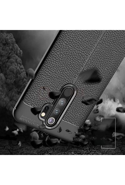 CepArea Apple iPhone 12 Pro Max (6.7) Kılıf Deri Desenli Lux Niss Silikon Kapak + Koruyucu Cam Siyah