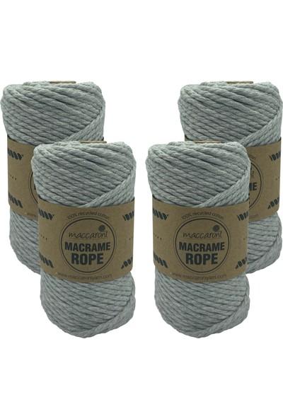Maccaroni Rope 4 mm Üç Büklüm Pamuk Makrome Tarama İpi Halat 250 gr 4'lü Set
