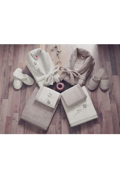 Cotton Box Bambu 3D Nakışlı Aile Bornoz Seti Ekru - Toprak